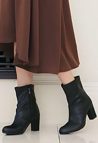 7cmチャンキーヒールミドル丈ブーツ [I1198]