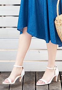 7cm細ヒール☆アンクルストラップ付きサンダル[I1343]