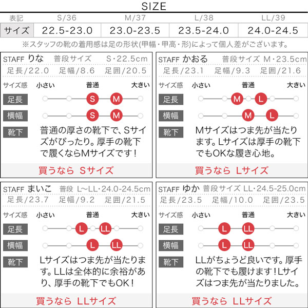 ベルクロスニーカー [I2013]のサイズ表