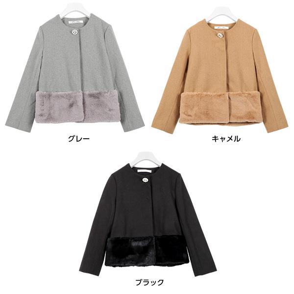 ビジューブローチ★裾ファーショートコート[K717]