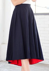 アシメへム裾バイカラーチノフレアスカート [M1903]