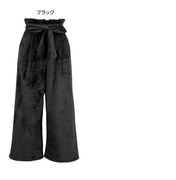 ウエストリボン☆ベロアワイドパンツ [M1947]
