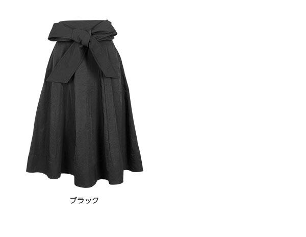 リボン付★マットサテンフレアスカート [M1974]