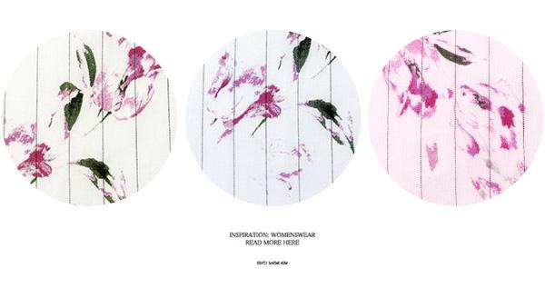ピンストライプ☆花柄コットンフレアスカート [M2068]