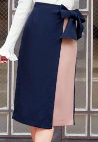 ≪プライスダウン★クリアランスセール!!≫ウエストリボンバイカラータイトスカート [M2082]