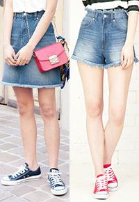 選べる2type[ショートパンツ/スカート]裾フリンジデニムミニボトムス [M2105]
