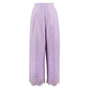 裾パンチングレース刺繍ワイドパンツ [M2132]