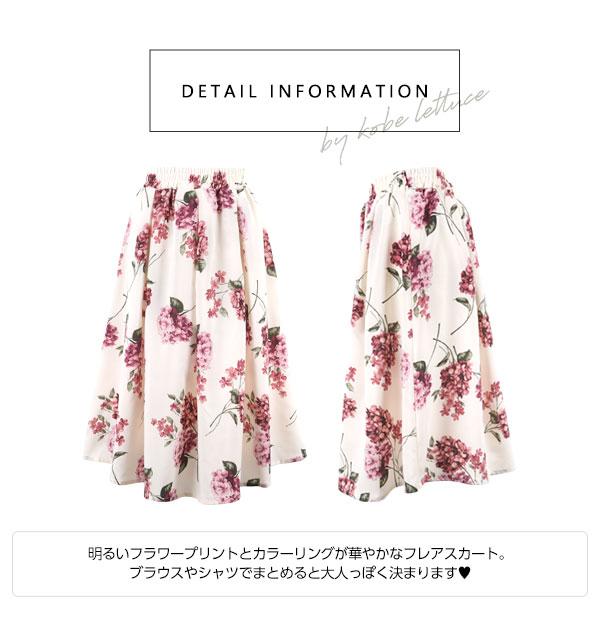 ウエストゴム☆タック花柄フレアスカート [M2144]