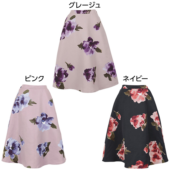 大花柄フレアスカート [M2294]