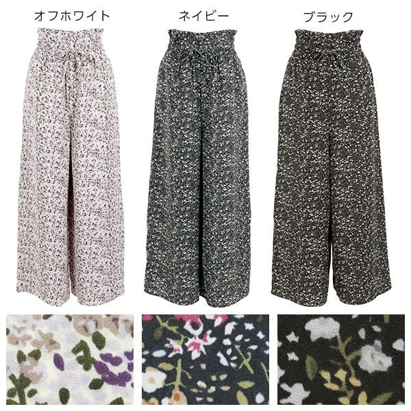 ウエストギャザー花柄ワイドパンツ [M2343]