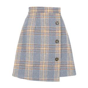 ≪クリアランスセール!≫フロントボタンラップ風フェイクウール台形スカート [M2372]