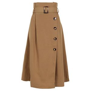 ラップ風ボタン付きデザインスカート [M2393]