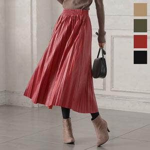 フェイクレザープリーツスカート [M2703]