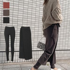 【もちもちリブ】ラップスカート・レギンスSET [M2709]