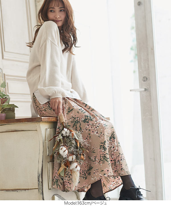 サテン花柄パネルスカート [M2719]
