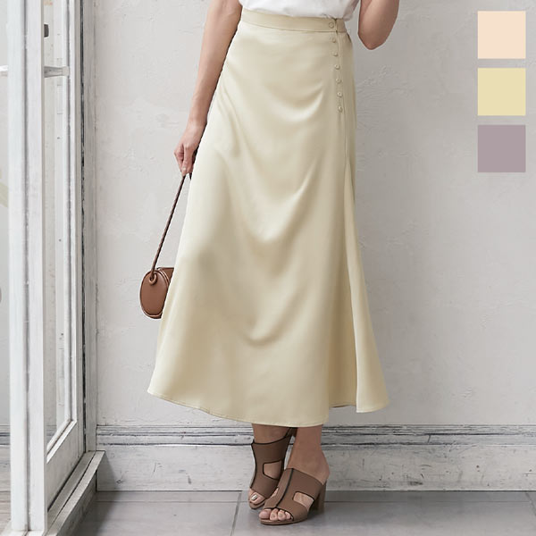神戸レタス サイドボタンマットサテンスカート [M2895]