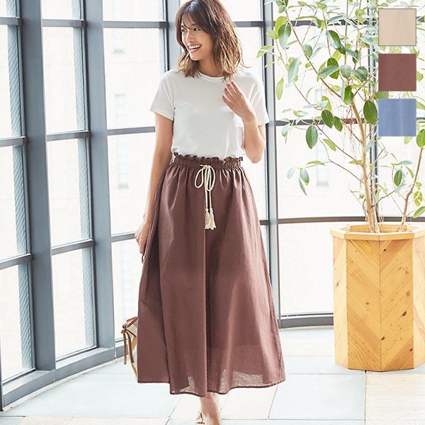神戸レタス ウエストデザインリネンタッチスカート [M2961]
