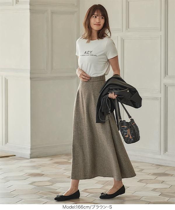 Aラインヘリンボーンスカート [M3026]