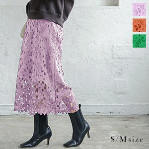 選べる2サイズ フラワーレースタイトスカート [M3154]