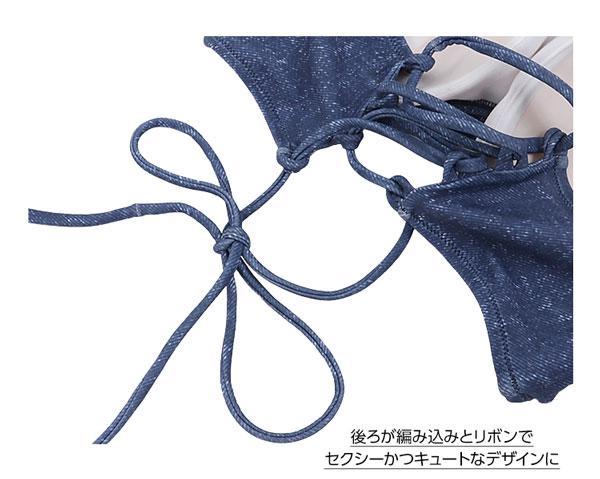 ツイストデザイン☆バックレースアップバンドゥービキニ [S148]