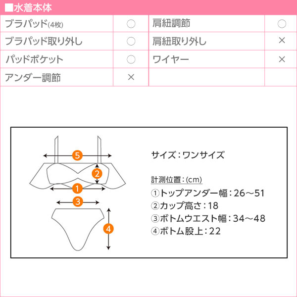 フレアキャミビキニ [S175]のサイズ表