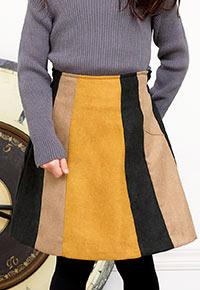 バックウエストゴムバイカラースカート [X1948]