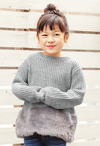 【KIDS】裾ファーニットトップス [X2501]