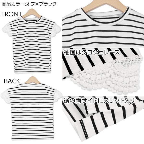 袖クロシェレース☆カットソーTシャツ [X2739]