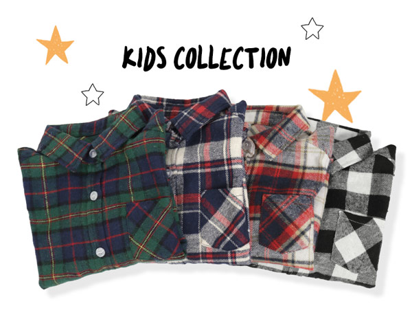 [キッズ]起毛ネル素材ボタンチェックシャツ [X302]