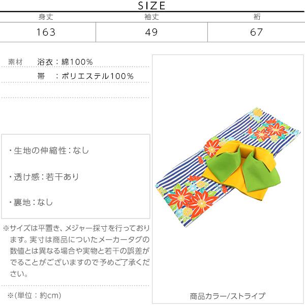[ ゆかた/作り帯2点セット ]レトロモダン系☆夏恋浴衣 [X331]のサイズ表