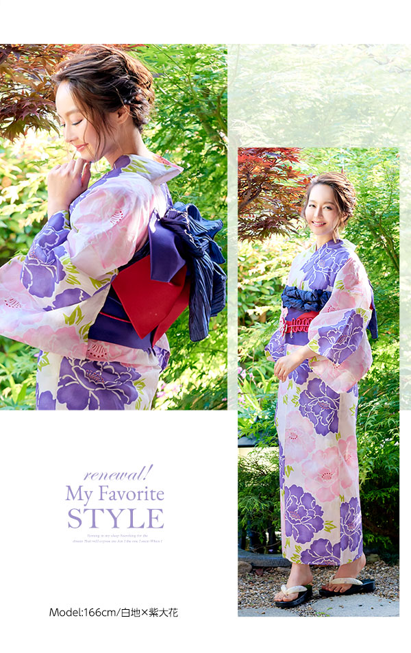 選べる華やか全7柄☆平織浴衣+作り帯セット [X362]